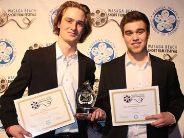 Budding filmmakers win top prize at Wasaga Beach short film festival - Matt Tipold (left) and David Redman won the overall prize at the Wasaga Beach Short Film Festival on Saturday night, along with the platinum award for the best regional comedy/drama/action entry, and gold for best regional music video. Ian Adams Photo