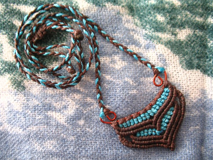 Brown and blue macrame necklace. 100% Handmade. Bohemian style. Boho. Hippie. Tribal. Yoga. Surf. Spiral. Gift for her. Valentine's day by PeterPanCreations on Etsy