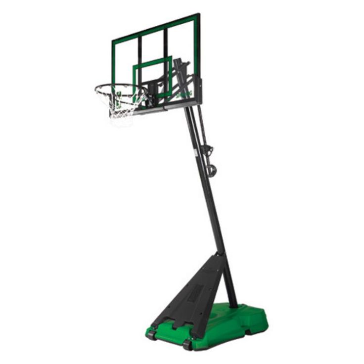 Spalding 54 in. Acrylic Portable Angled Pole Hercules Base Basketball System - Green / Black - 75747
