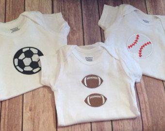 Pack mono 3 mono de fútbol, béisbol mono, mono de fútbol, regalos de bebé niños, Set de regalo recién nacido Niño de deportes