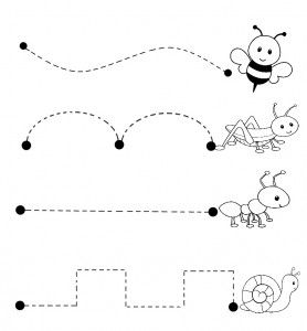 bugs trace line worksheet | Crafts and Worksheets for Preschool,Toddler and Kindergarten