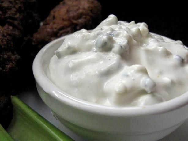 Blue (bleu) Cheese Dressing for Dummies from Food.com:   								Finally! I found out how to make a wonderful bleu cheese dressing at home. I've tried so many, with all kinds of ingredients, but none of them came out wonderful until this one! And it's so simple, anyone can make it and feel like a real gor-may type chef! I usually use light (not the non-fat)mayo and sour cream and it's incredibly rich.