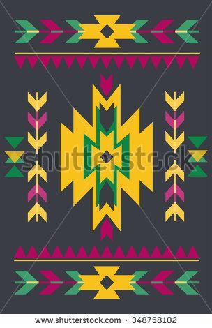 Vector Tribal element, ethnic collection, aztec stile, tribal art, tribal design isolated on darkt background