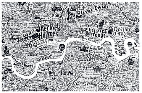 Plattegrond van Londen opgebouwd uit namen uit de Engelse literatuur