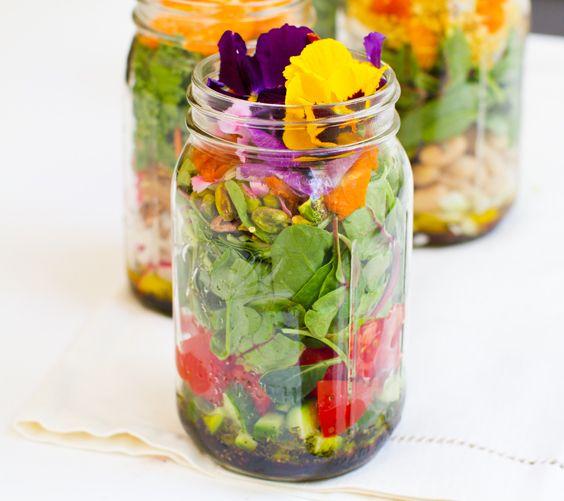 Vegan Salad in a Jar by healthyhappylife: How pretty is that! #Salad #Vegan #healthyhappylifeSalad Vegan, Health Food, Mason Jars Salad, Pack Lunches, Edible Flower, Vegan Healthyhappylif, In A Jars, Healthy Food, Vegan Salads