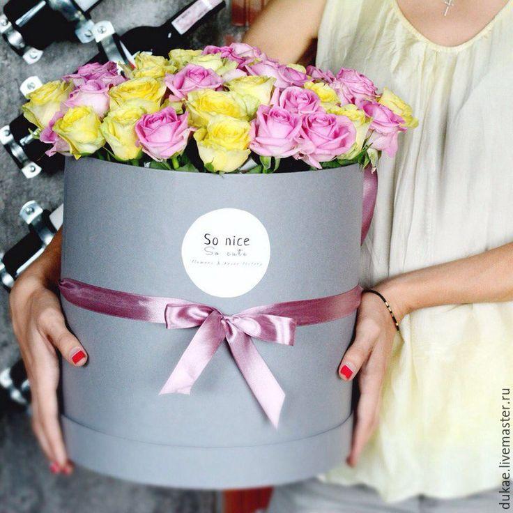 Купить Шляпные коробки под цветы - серый, голубой, шляпная коробка, круглая коробка