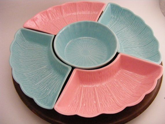 Vintage Lazy Susan Pink And Blue On Wood By KissingKansasWinds, $22.99