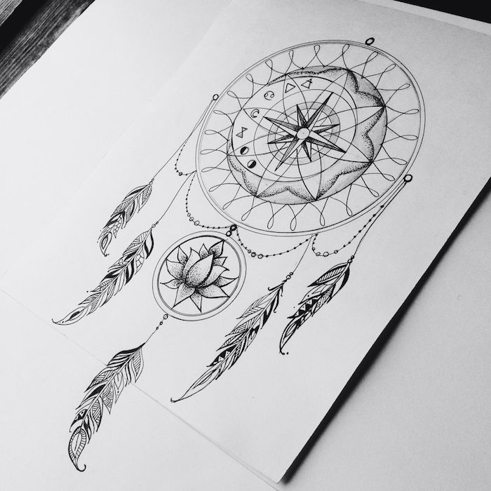 ▷ 1001 + Ideas and pictures about Dreamcatcher Tattoo!