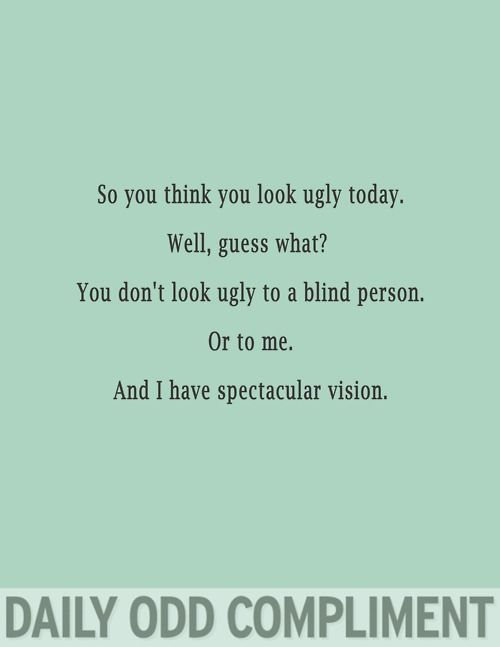 you don't look ugly to a blind person