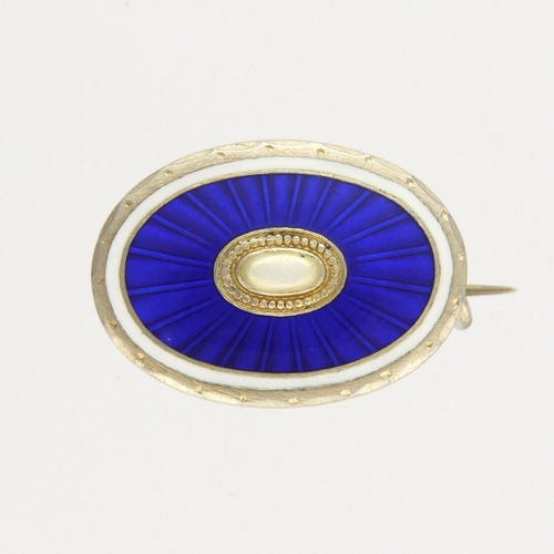 Antique Silver Enamel Lace Pin - CLEMENT BERG - Norway