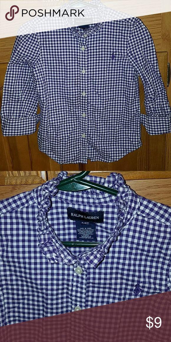 Girls Ralph Lauren shirt Purple and white Ralph Lauren shirt size 4t  .. Polo By Ralph Lauren Shirts & Tops