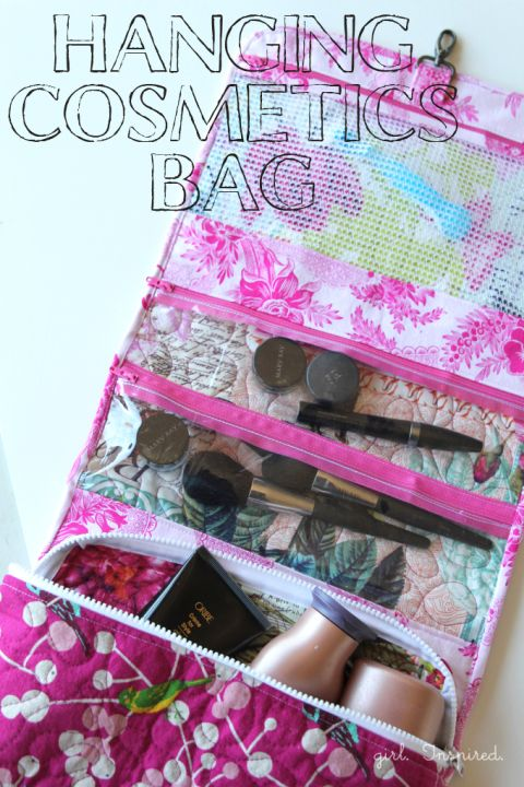 Hanging Cosmetics Bag - a great sewing project with zippers, vinyl, hardware, and pockets to fit everything!