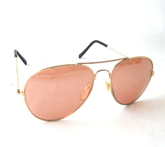 Vintage Aviator Sunglasses Rose Colored Lenses Gold Metal