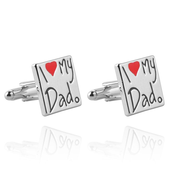 Exquisite Classic Enamel Letters I Love My Dado Cufflinks For Mens Fashion Cufflinks Jewelry Cufflinks Father's Day Gift