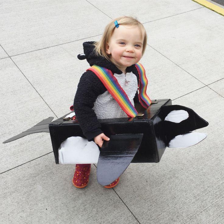 Cardboard box kids costume, orca, whale
