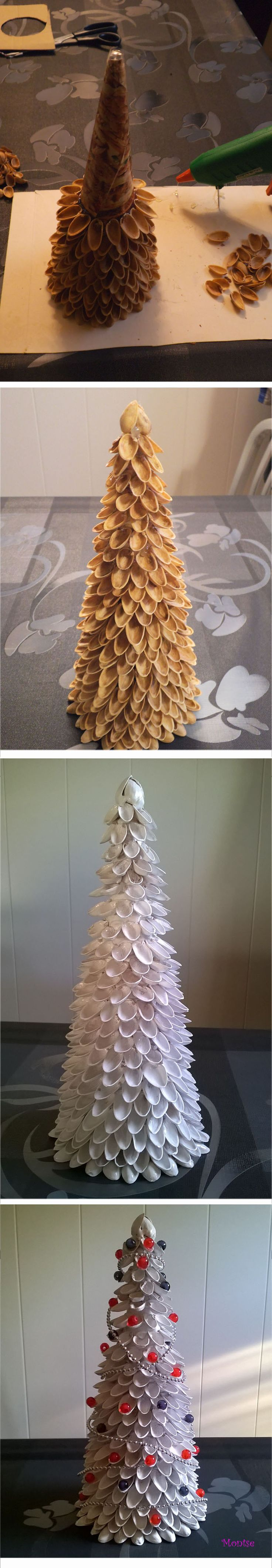 Christmas tree made ​​with pistachio shells ;)