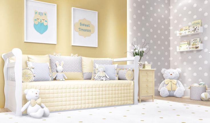 O Quarto de Bebê Amiguinhos Amarelo vem com um kit para cama babá que é um luxo! Com edredom matelado e muitos bichinhos para decorar, não tem como resistir a essa decoração de quarto de bebê unissex!