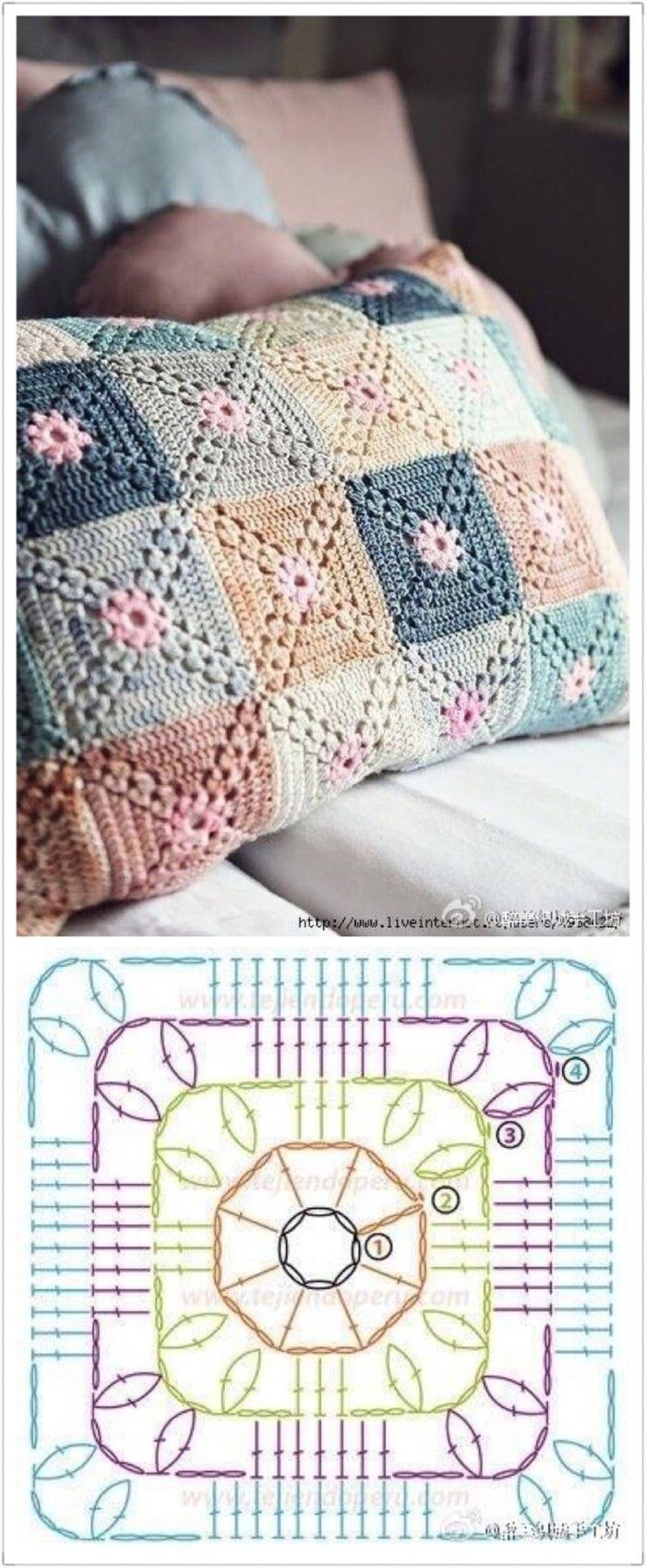 Crochet granny square baby blanket pillow cushion afghan throw ...