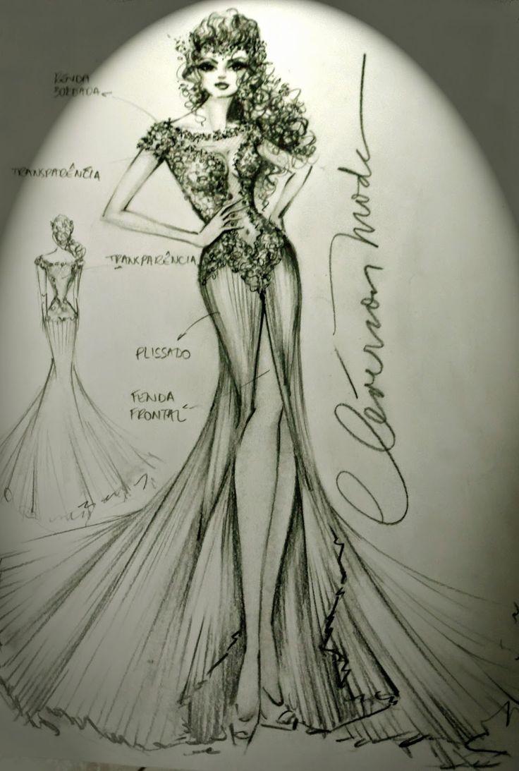 DESENHOS DE MODA: Desenho de Vestido de Noiva ousado e glamuroso.