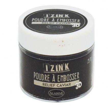 Poudre à embosser Noir Caviar 30 ml à utiliser avec une encre à séchage lent pour tamponner en relief, cacheter,... Le pot mesure 4.2 cm x 4.2 cm