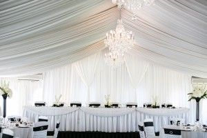 This is the reception marquee at Caversham house in Perth. It is already lined with fairy lights, has several chandeliers, a dance floor and round tables with air conditioning.