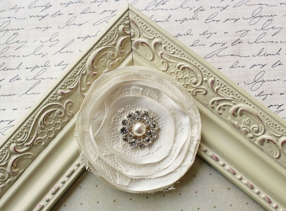 Ivory Satin and Lace Hair Clip bridal by FlourishingCreations, $18.95