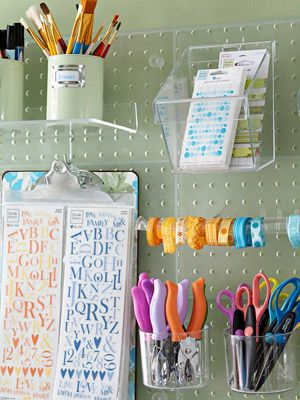 stuff: Crafts Stations, Clear Pegboard, Diy Crafts, Crafts Rooms, Crafts Spaces, Acrylics Pegboard, Clipboards, Peg Boards, Scrapbook Rooms