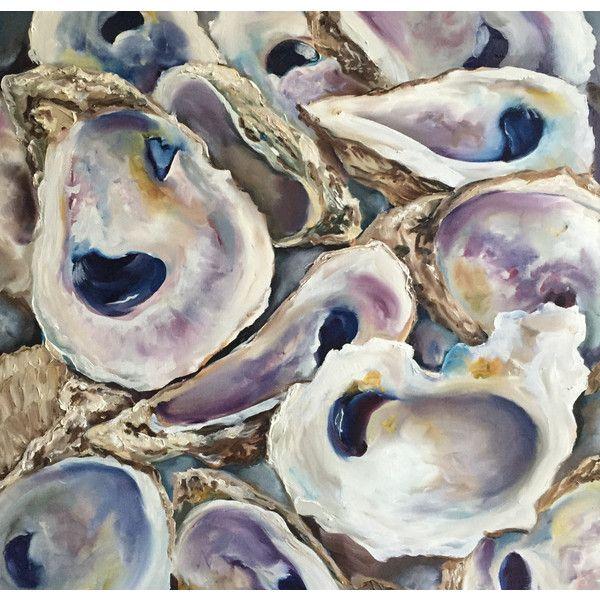 Oyster Shells ORIGINAL Oil painting 24x24 Coastal Decor Beach Seashell... ($2,000) ❤ liked on Polyvore featuring home, home decor, wall art, texas wall art, beach scene wall art, beach paintings, coastal painting and seashell paintings