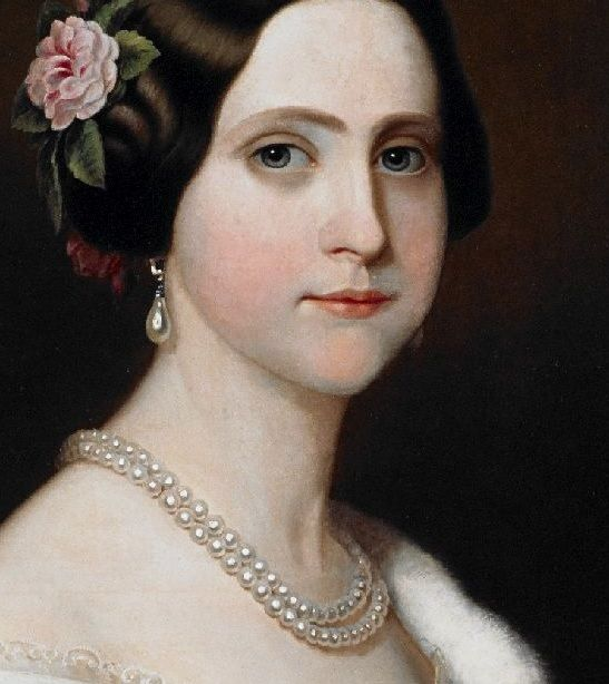 DETAIL. Princess Maria Amélia, daughter of Emperor Dom Pedro of Brazil (1849). Painted by Friedrich Dürck (1809-1884). A copy hangs in the Gabinete de Trabalho, of the Imperial Museum of Brazil.