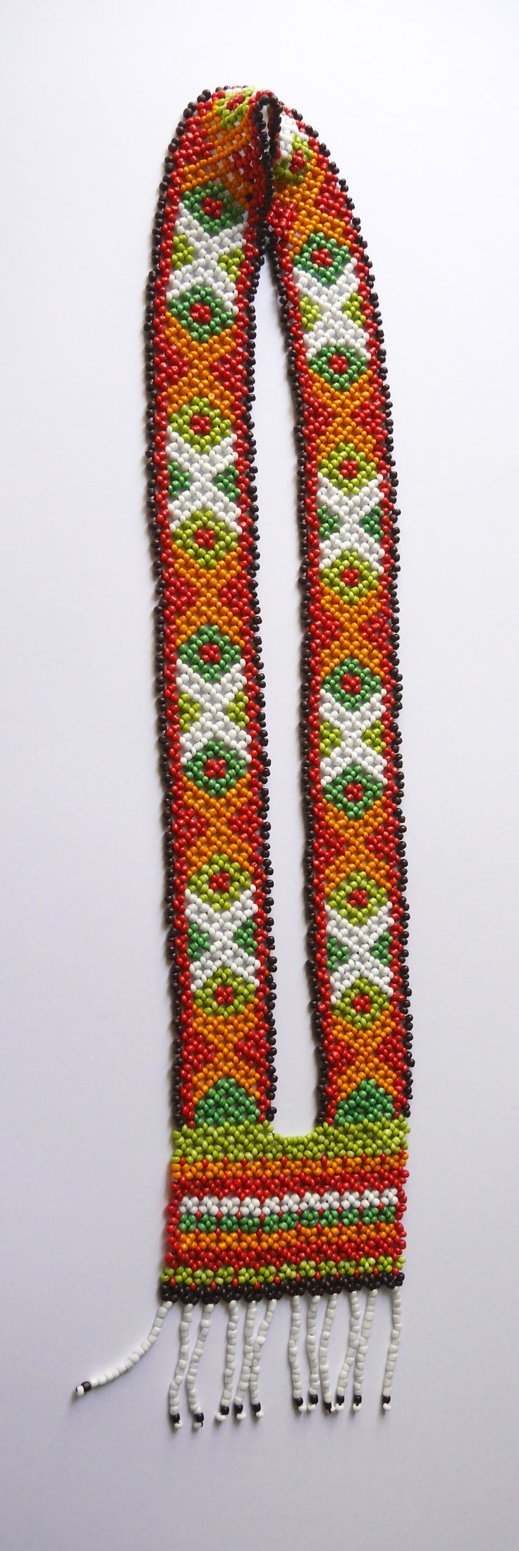 """Beaded necklace """"Crosstich Gaitan"""". Made by me on request from Alla Denissova, a fashion line designer for Alla Denissova Russian Traditional Costumes (http://www.alladenissova.com). Made off the picture of an authentic article."""