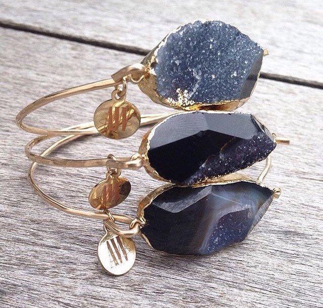 Jessica Black Agate Druzy Bracelet by ArmWireJewelry on Etsy https://www.etsy.com/listing/229756106/jessica-black-agate-druzy-bracelet