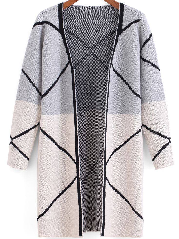 Light Grey White Long Sleeve Line Print Cardigan