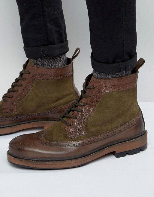 Frank Wright | Коричневые кожаные ботинки-броги Frank Wright