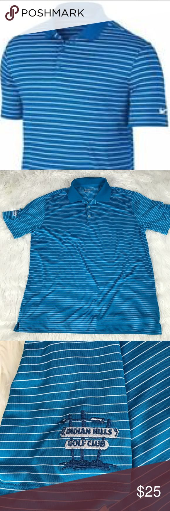 Nike Blue Stripe Victory Golf Athletic Polo Victory stripe Golf Polo. Shades of blue striped. Has Indian Hills Golf Club Logo Embroidered On Sleeve Side. Short sleeve. Excellent condition. Bundle 2+ items for a discount. Nike Shirts Polos