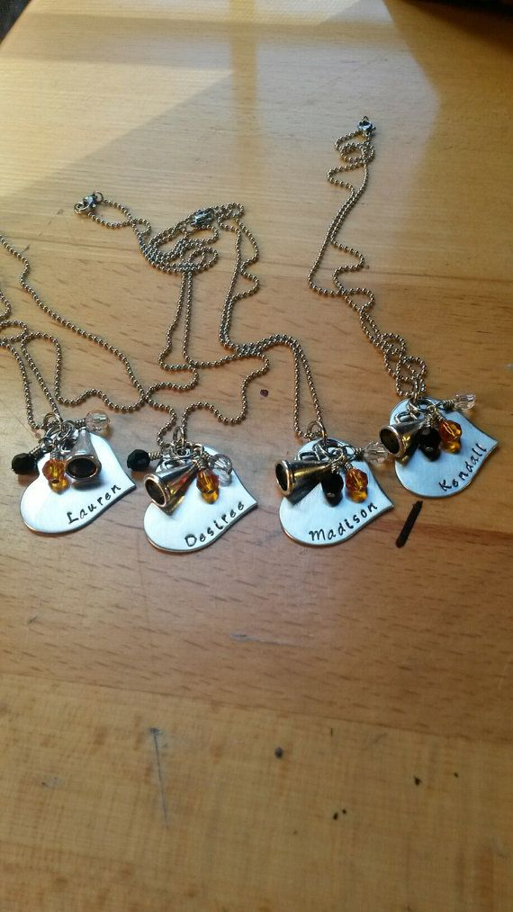 Hey, I found this really awesome Etsy listing at https://www.etsy.com/listing/209609447/hand-stamped-cheer-necklace-cheerleading