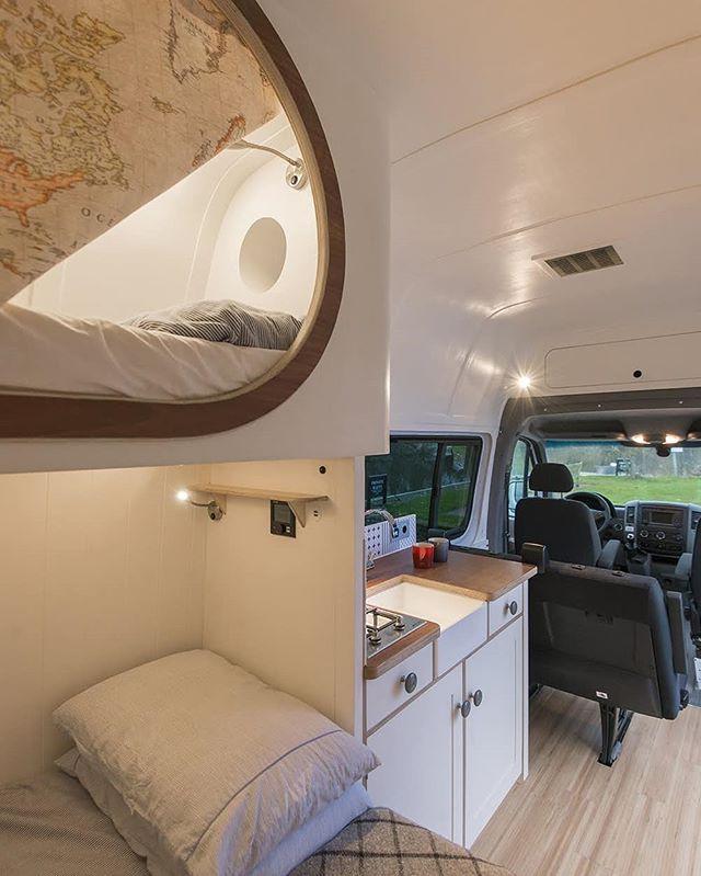 A Peak Inside The Top Bunk Of The Culinatour Camper Van Check The Over Cab Storage And Custom Roof Vent Sprinter Van Camper Build A Camper Van Camper Van