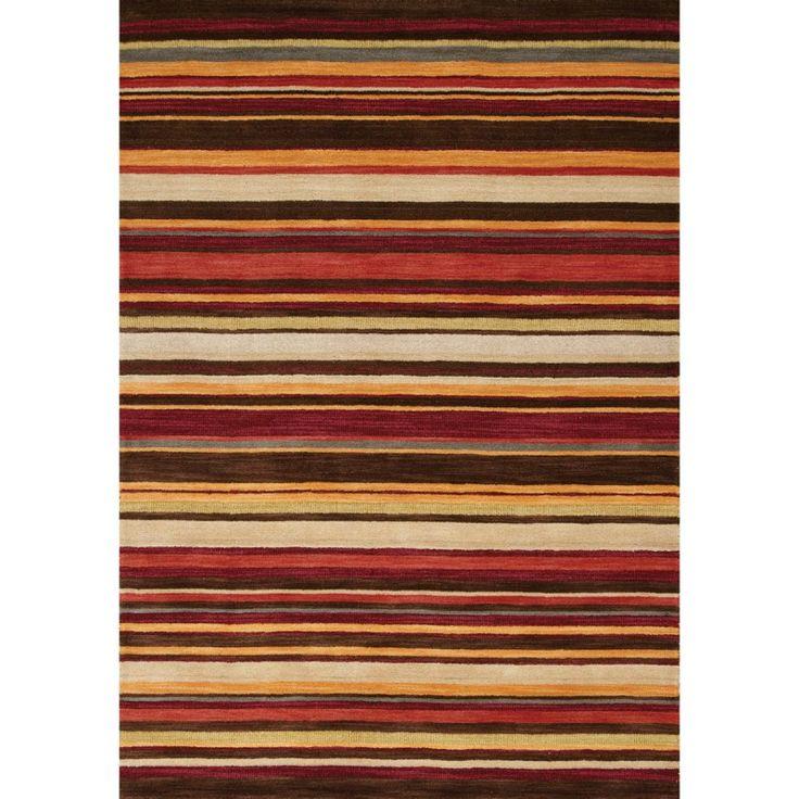Mansoori Textured Red Striped Rug