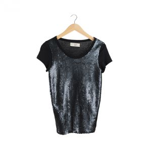 Black Sequin T-Shirt