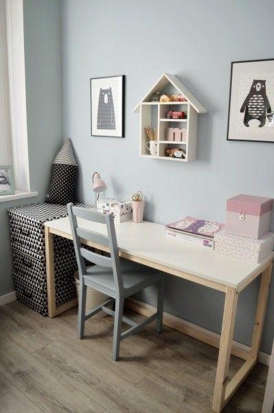 meble - domowe biuro - biurka-Biurko w stylu skandi, nogi drewniane 100x50x75w