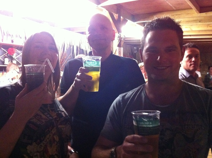 Customers enjoying a pint in Biopac's eco friendly 'I am not a plastic cup' PLA tumblers at the Kahuna Beach Bar in Nottingham.