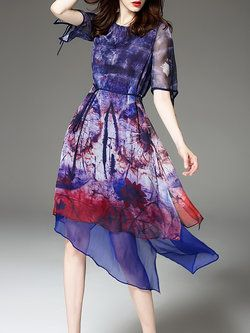 Printed Short Sleeve Elegant Asymmetrical Graphic Midi Dress