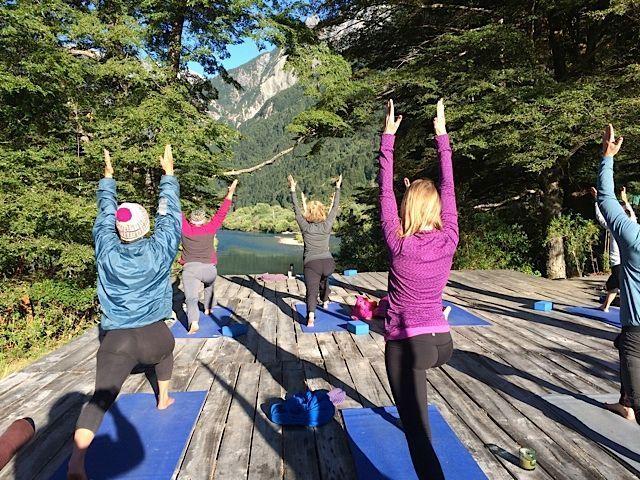 Morning yoga over looking the Futaleufu River with Bio Bio Patagonia