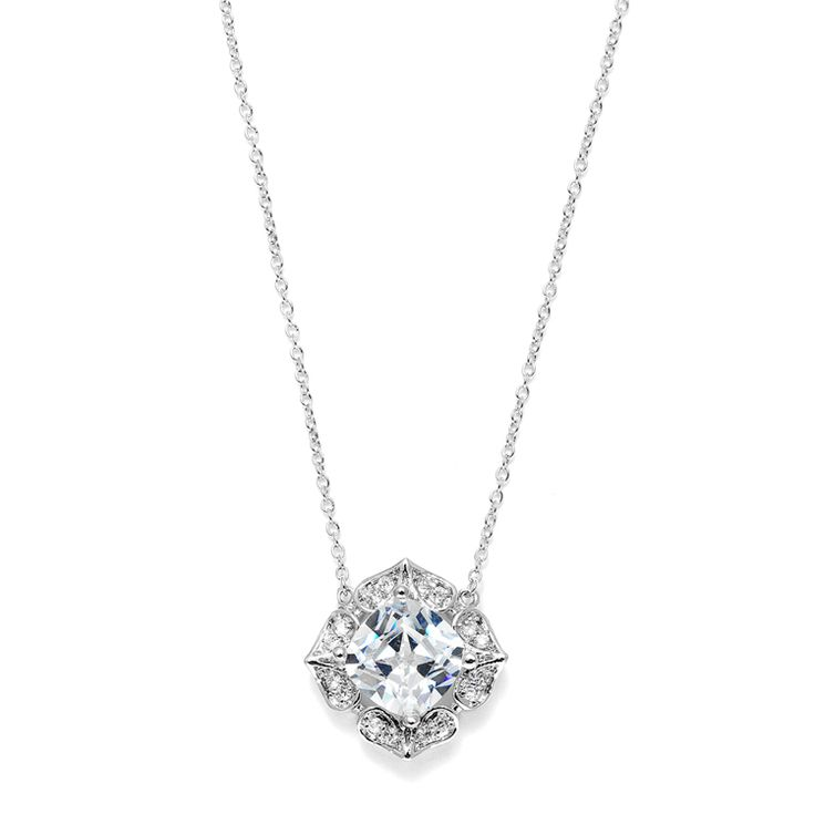 """This brilliant beautiful cushion cut Cubic Zirconia bridal necklace is adjustable 15""""-17"""" and has a 7/8"""" pendant. This spectacular bridal necklace for weddings is plated in lustrous silver rhodium for a romantic Renaissance flair."""