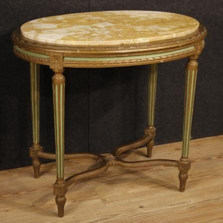750€ Italian lacquered side table with marble top in Louis XVI style. Visit our website www.parino.it #antiques #antiquariato #furniture #antiquities #antiquario #coffeetable #marble #table #tavolo #golden #gold #decorative #interiordesign #homedecoration #antiqueshop #antiquestore