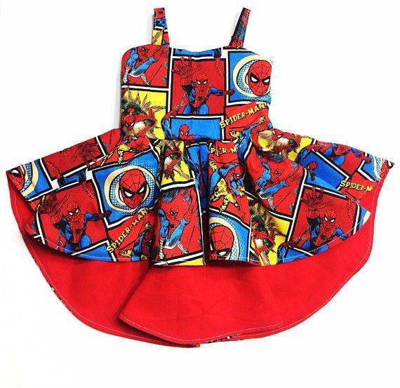 Spiderman, spiderman Dress, high low dress, tunic dress, kids train dress, train dress, boho dress, girls clothing, girls maxi dress, girls
