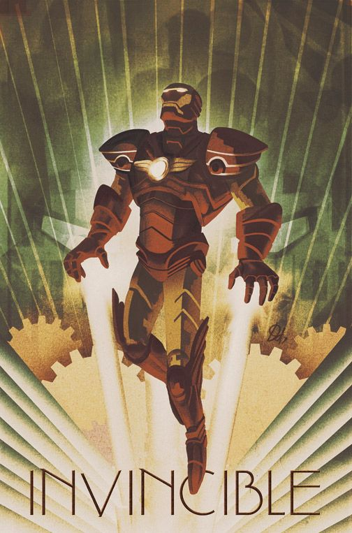 Artist Mike Del Mundo gave Iron Man a Deco styled 1920's set of armor in his variant cover for Amazing Spiderman #628. Check out more of his work here.  Iron Man by Design Deco Works byMike Del Mundo(deviantART) (Twitter)  Via: deadlydelmundo