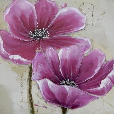 Tableau peinture sur toile-fleur-Epopee-florale-3-30X30cm