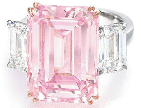 The Perfect Pink diamond ring sold for $23.2 million  A rectangular-cut fancy intense pink diamond ring weighing 14.23 carats, which is very rare for pink diamonds. The piece was purchased by an anonymous buyer.
