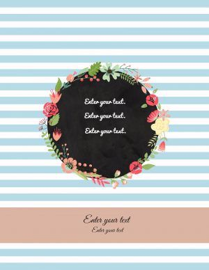 binder cover templates with light blue stripes and a floral wreath                                                                                                                                                                                 More