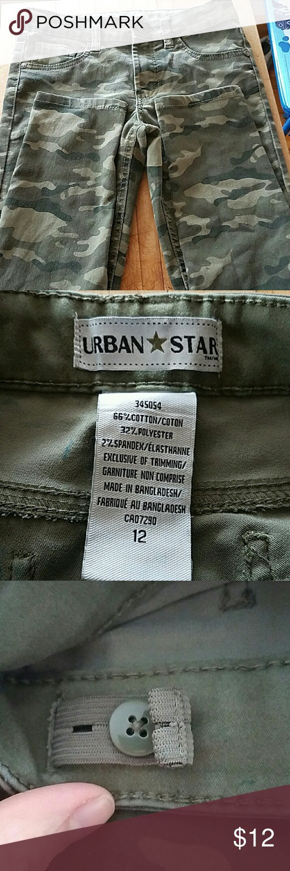 Camouflage Pants Girls Camouflage Pants, Urban Star, a little faded from washing but still in great shape. They are very soft and have an adjustable waist. Urban Star Bottoms Casual